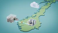 Bilde av Norge med  kontor, hvelv og en sky